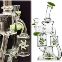 Purple Green Double Recycler Bong Hookahs Propeller Spinning Percolator Water Pipes Dab Rigs 14mm Female Joint Glass Bongs