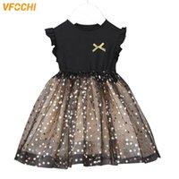 Vfochi New Girl Princdresses Summer Girls Ropa Color Negro Estrella Patrón de Encaje Niños Vestidos Para Niña Vestido De Bola Vestidos X0509