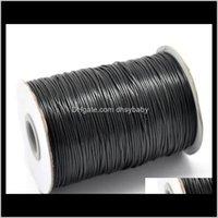 Cable Cable Hallazgos Componentes Drop Entrega 2021 1 mm 200 yardas 24 colores Cordones de algodón de alta calidad de alta calidad para joyería de cera Hacienda DIY Bead Str