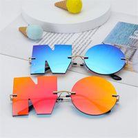 Sunglasses 2021 Fashion Letter NO Designer Women Metal Sun Glasses Ladies Trend Sunglass UV400 Shades