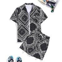 الرجال مصنع زهرة قميص طباعة الأفريقي + السراويل البدلة شاطئ ارتداء الصيف هاواي مجموعة قطعتين