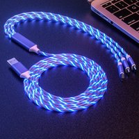 3 in 1 2A LED Flowing Light Type C Micro USB Fast Charger Cables 120cm