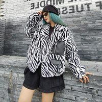 Fuzzy Plush Jacket Women Korean Harajuku Faux Fur Fleece Coat Zebra Pattern Print Cardigan Female Warm Hairy Oversize Stylish Women's Jacket