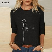 Oversized Women Autumn Long Sleeve T-shirt New 2021 Vintage o-neck Loose Comfortable Female Black Cotton Tops Shirts #G3