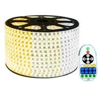 스트립 15-50m 5730 LED 스트립 라이트 CW + WW 220V IP67 방수 테이프 듀얼 컬러 가정용 Dimmable 가정 장식