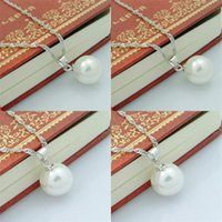 Colgante de perlas largo 925 Collar de plata esterlina Pearl Moda Mujeres Bohemian Collar Colgante 10 cm Ball Damas Joyería 345 N2