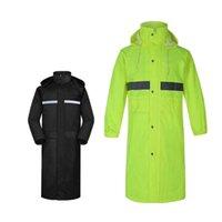 عاكس جودة عالية للجنسين المعطف سميكة ماء معطف المطر الرجال الأسود التخييم المطر ملابس طويلة سترة طويلة الرجال جاكيتات