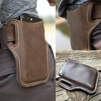 Upgrade Men Leather Vintage Pack Waist Bag Belt Clip Phone Holster Travel Hiking Cell Mobile Case Pouch Purse Cases