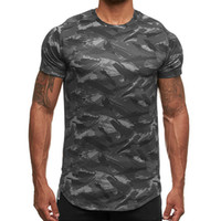 Men's Camo Quick-dry Sport Shirt Short Sleeve Workout Gym Tops Compression Slim Fit Running T-shirt Men Fitness Casual t