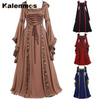 Abiti casual Abito medievale Donne Donne Long Flare Manica Retro Fancy Maxi Vintage Cosplay Costume Party Gothic Masquerade Goth Outfit