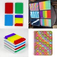 Tie Dye Rainbow Fidget Spiral Notebook A5 Push Pop Bubble Cover Notebooks School Briefpapier Kids Meisjes Jongens Kerstcadeau Speelgoed Sensorische Stress Bal Puzzel G85ZH05