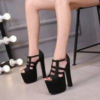 Summer New Womens Shoes Night Club 17cm High Heels Sandals Thick Heels Platform Sexy Sandals d2Bd#_bar