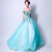 Party Dresses Long Evening Formal Puffy Embroidery Applique Prom Dress Off The Shoulder Aqua Vestidos De Festa Robe Soiree