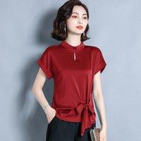 Korean Silk Blouses Women Satin Blouse Shirt Summer Woman Solid Belt Tops Plus Size Blusas Femininas Elegante Ladies Top Women's & Shirts
