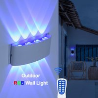 Wall Lamps RGB Lamp Led Interior Outdoor Lighting Decoration Sconce For Home Garden Hanging Remote Control Dimming Black Fixtures