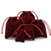 5 크기 쥬얼리 선물 가방 솔리드 컬러 벨벳 페르시 팔찌 펜던트 목걸이 귀걸이 Drawstring 파우치 포장 웨딩 파티 장식