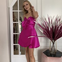 2022 Sweetheart Homecoming Dresses with Ruched Bow Zipper Back Graduation Party Gowns A Line Short Prom Dress