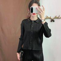 Женские куртки Lanmrem Черный отворот с длинным рукавом с длинным рукавом.
