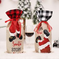 Christmas Champagne Wine Bottle Cover Santa Claus Gift Bags Xmas New Year Decoration Dinner Table Ornaments w-00964