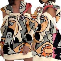 Mujeres Tops Hombro frío Soodstring Sudadera con capucha Vestidos Casual Streetwear Cloon Print Mini Vestidos