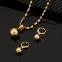 Gold Color Plain Bead Pendant Necklace Ball Earrings Women Jewelry Set &