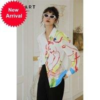 CHEERART Artist Watercolor Print Long Sleeve Autumn Button Up Shirt Women Top And Blouse Femme 2020 Korean Clothes