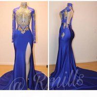New Arrival Royal Blue Prom Dresses Mermaid High Neck Formal Pageant Evening Wear Holidays Burgundy Party Gowns 2019 Custom Made