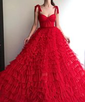 Party Dresses BridalAffair Vintage Red Prom Strapless Tiered Tulle Long Celebrity Spaghetti Straps Backless Evening Gown