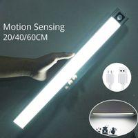 Ultra dünn 20/40 / 60 cm LED-Schrank-Licht wiederaufladbarer PIR-Bewegungssensorschrank Kleiderschranklampe unter Aluminium-Nachtlampen