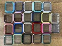 Bunte PC Harte Stoßfängergehäuse mit gehärtetem Glaskasten für iwatch 1 2 3 4 5 6 Vollschutzabdeckungen 38mm 40mm 42mm 44mm Uhrband