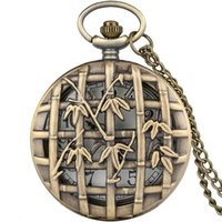 Vintage Bronze Hollow Bamboo Leaf Case Pocket Watch Classic Antique Men Women Quartz Analog Watches Necklace Chain Cool Clock