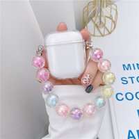 Case Compatible with AirPods Case with Pearl Keychain Bling Rainbow Glitter Girls Boys Woman Hard PC Cover Case for Airpods 2 &1 White 97242