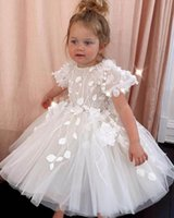 Girl's Dresses Tea Length Summer Flower Girl Ball Gown Hand Made Flowers Beaded Backless Tulle Lilttle Kids Birthday Pageant Gowns
