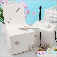 Gift Event Festive Supplies Home & Gardengift Wrap 3D Butterfly Pattern Cookie Candy Packaging Box Portable Handle Cake Chocolate Paper Wedd