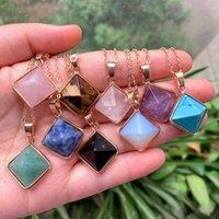 Reiki Curing Jewelry Natural Stone Necklace Cuarzo Péndulo Lapis Opal Pink Crystal Pyramid Colgante Amatista Collares Mujeres