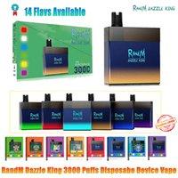 100% Original Randm Dazzle Rey Desechable E Vapes Vapes 3000 Puffs 1100mAh USB Recargable 8.0ml POD en Dark RGB Light 12 Colores Pro Switch
