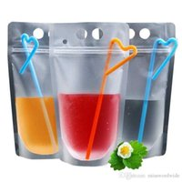 USA Stock Clear Drink Pouches Bags frosted Zipper Stand-up Plastic Drinking Bag with straw with holder Reclosable Heat-Proof