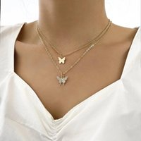 Pendant Necklaces LXY-W 2021 Fashion Gold Chain Full Crystal Butterfly Necklace For Women Boho Vintage Choker Jewelry Party Gift Wholesale