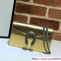 2021 Feminino Dionysian Chain Bolsas De Ombro Messenger Bag Moda Golden Silvery Alta Qualidade Genuine Leather Couro Hasp Mulheres Flap Mini Purese 476432 carteiras