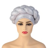 Ethnic Clothing BUSHRA African Turban Cap Braided Aso Oke Gele Head Wrap HandMade Diamond Auto Headtie Nigerian Female Ready Wear Hair Bonne