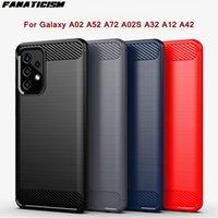 삼성 갤럭시 A02 A52 A72 A02S A32 A12 A42 전화 쉘 커버를위한 닦은 TPU 실리콘 탄소 섬유 하이브리드 보호 케이스