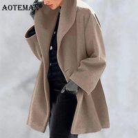 Women's Wool & Blends Women Jackets Solid Female Winter Coats Warm Autumn Outwears Long Sleeve Windbreaker Single Breasted Lady Working Wear