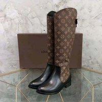 Женщины Высококачественные дизайнерские ботинки Коленые ботинки Натуральная Кожаная Обувь Мода Обувь Зимняя Осень Заклепки с коробкой ЕС: 35-41 Shoe02 01