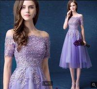 2021 robe de soiree purple short a line prom dresses beaded lace appliques petite informal tea length cocktail gowns off the shoulder vintage corset party dress
