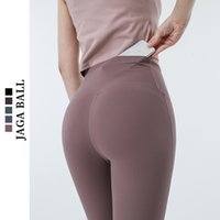 lifting hip Summer thin Yoga Pants women's Lulu tight pocket Capris quick dry high waist sports pants