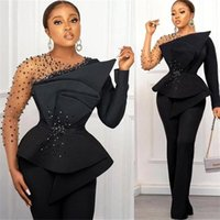 Black Satin Evening jumpsuit Dresses Long Sleeves Beaded Sheer Neck peplum Formal Slim Fit Occasion prom Dress Arabic Aso Ebi