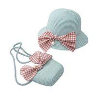 Summer Kids Cap + Handbag 2pcs Cute Beach Bowknot Straw Sun Pearl Decoration Girls 4-8y Lovely Toddler Girl Wavy Hat