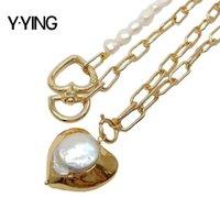 Y · jing Natural 2 ряда культивированные белые барочные выписки цепь ожерелье в форме сердца жемчужное ожерелье для женщин