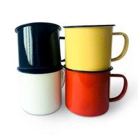 Enamel Tea Cup Ceramic Mug Outdoor Home Vintage Breakfast Milk Coffee Cup Gift Mugs Tumbler