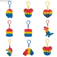 Fidget Discoloration Decompression Sensory Toys Keychain Pendants Colorful Rodent Pioneer Rainbow Bag Phone Accessories